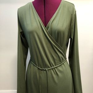 Sage green full length wrap dress by H&M
